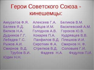 Аккуратов Ф.Я. Алексеев Г.А. Беликов В.М. Беляев Я.Д. Бойцов И.М. Василевски