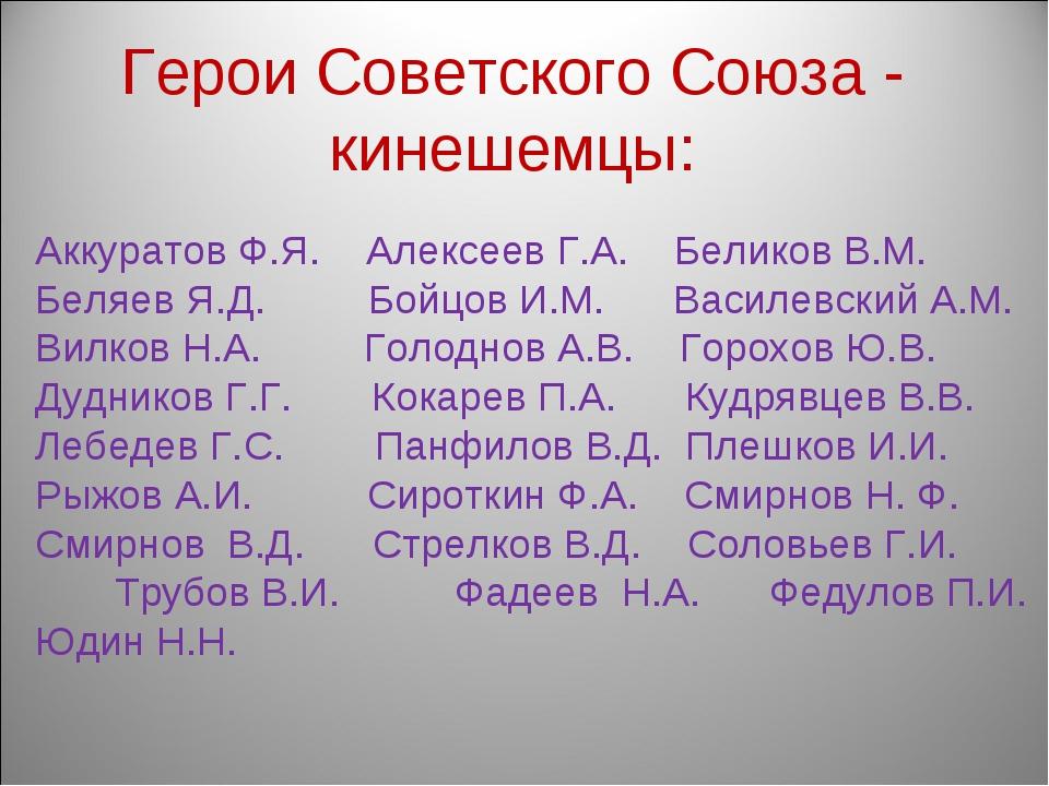 Аккуратов Ф.Я. Алексеев Г.А. Беликов В.М. Беляев Я.Д. Бойцов И.М. Василевски...