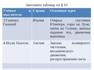 Заполните таблицу по § 10 Учёные и мыслителиСтранаОсновные идеи 3.Галилео Г