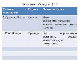 Заполните таблицу по § 10 Учёные и мыслителиСтранаОсновные идеи 5.Фрэнсис Б