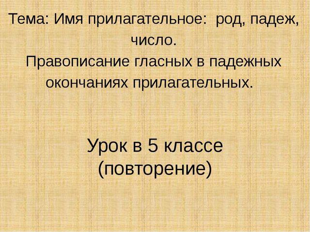 Тема: Имя прилагательное: род, падеж, число. Правописание гласных в падежных...