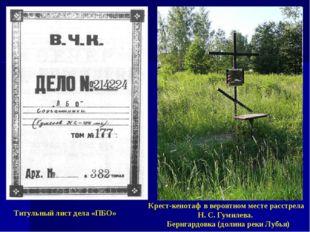 Титульный лист дела «ПБО» Крест-кенотаф в вероятном месте расстрела Н. С. Гум