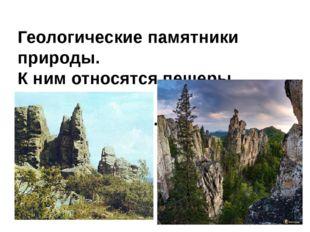 Геологические памятники природы. К ним относятся пещеры, скалы, ка- менные ст