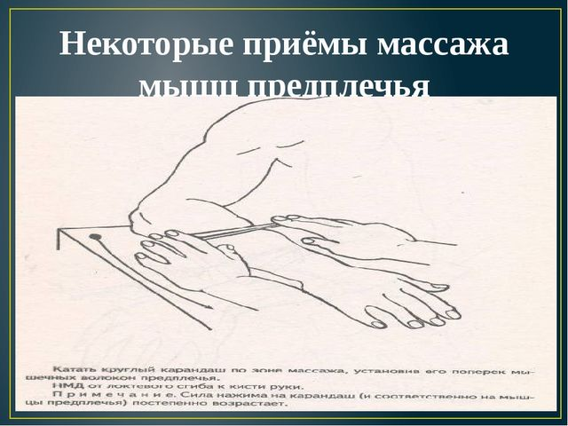 Некоторые приёмы массажа мышц предплечья