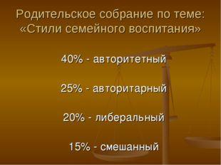 Родительское собрание по теме: «Стили семейного воспитания» 40% - авторитетны
