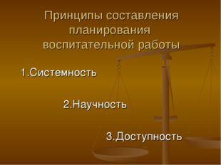 Принципы составления планирования воспитательной работы 1.Системность 2.Научн