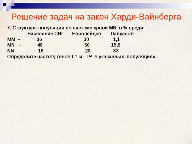 Решение задач на закон Харди-Вайнберга 7. Структура популяции по системе кров...