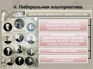 V. Либеральная альтернатива развития революции Действия Временного правительс