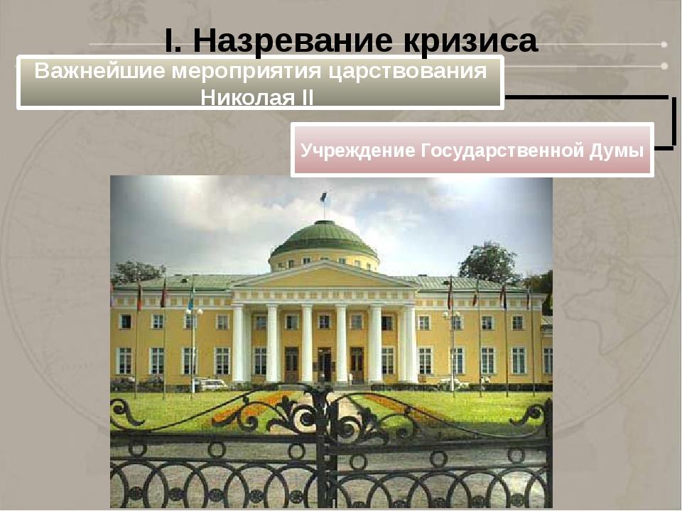 Важнейшие мероприятия царствования Николая II Учреждение Государственной Думы...