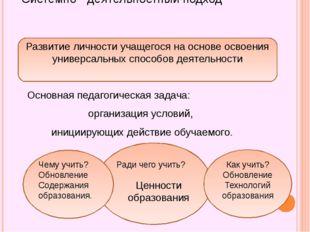 Системно - деятельностный подход Основная педагогическая задача: организация
