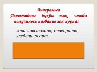 Анаграмма Переставьте буквы так, чтобы получилось название зон корня: Ответ: