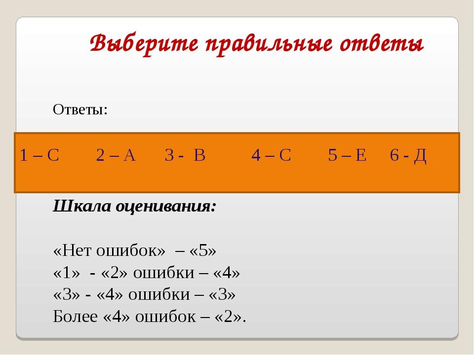 Выберите правильные ответы Ответы: Шкала оценивания: «Нет ошибок» – «5» «1» -...