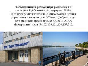 Тольяттинский речной порт расположен в акватории Куйбышевского гидроузла. В н