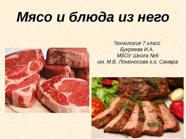 Мясо и блюда из него Технология 7 класс Букреева И.А. МБОУ Школа №6 им. М.В....