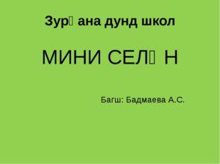 Зурһана дунд школ МИНИ СЕЛӘН Багш: Бадмаева А.С.