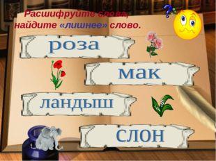 Расшифруйте слова, найдите «лишнее» слово.