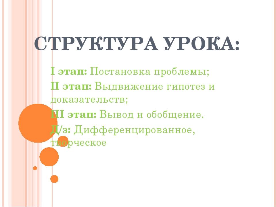 СТРУКТУРА УРОКА: I этап: Постановка проблемы; II этап: Выдвижение гипотез и д...