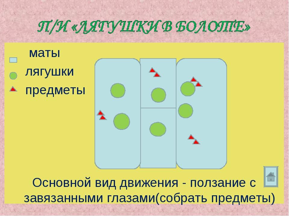 маты лягушки предметы Основной вид движения - ползание с завязанными глазами...