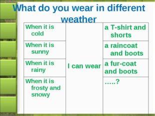 What do you wear in different weather When it is cold	 I can wear	a T-shirt a
