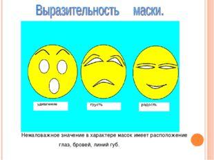 Немаловажное значение в характере масок имеет расположение глаз, бровей, лин