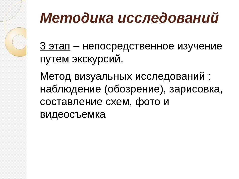 Методика исследований 3 этап – непосредственное изучение путем экскурсий. Мет...