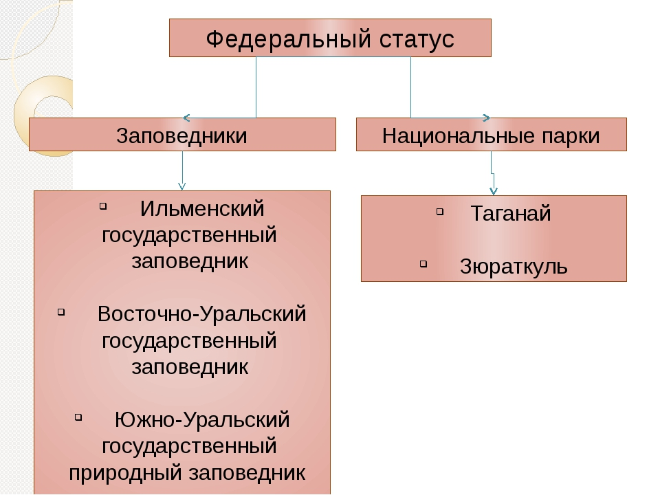 Федеральный статус Заповедники Национальные парки Ильменский государственный...