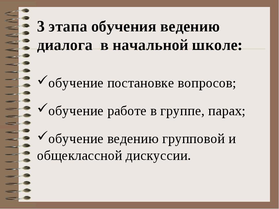 3 этапа обучения ведению диалогав начальной школе: обучение постановке вопр...