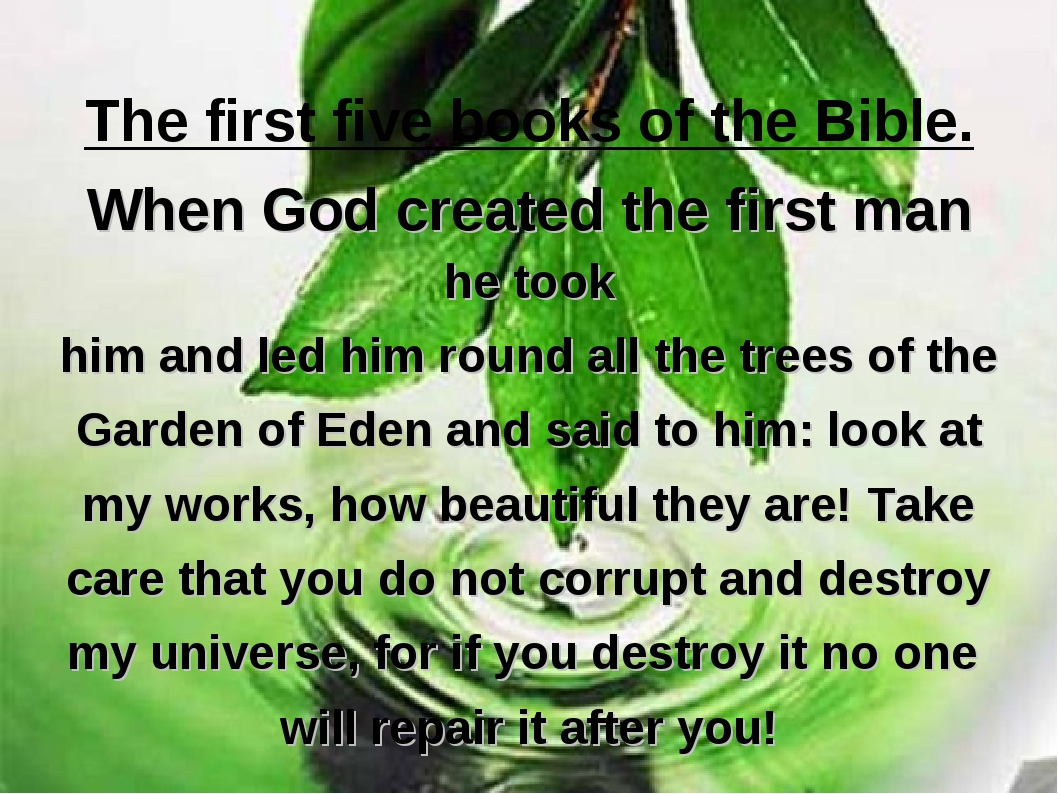 The first five books of the Bible. When God created the first man he took him...