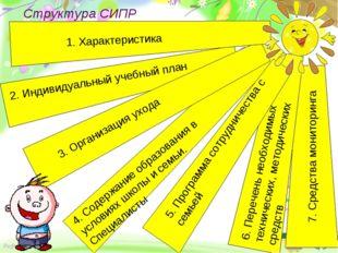 Структура СИПР Здоровьесберегающие 7. Средства мониторинга 2. Индивидуальный
