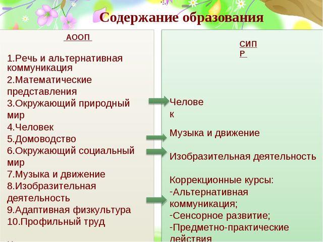 Содержание образования АООП Речь и альтернативная коммуникация Математические...