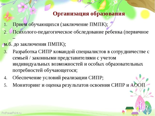Организация образования Прием обучающихся (заключение ПМПК); Психолого-педаго...