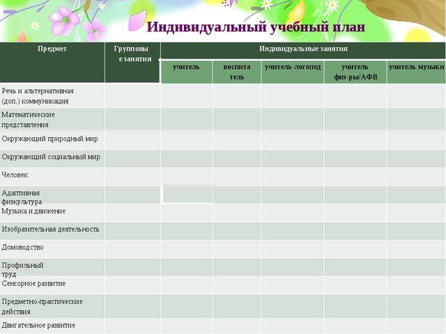 Индивидуальный учебный план Предмет Групповые занятия Индивидуальные занятия...