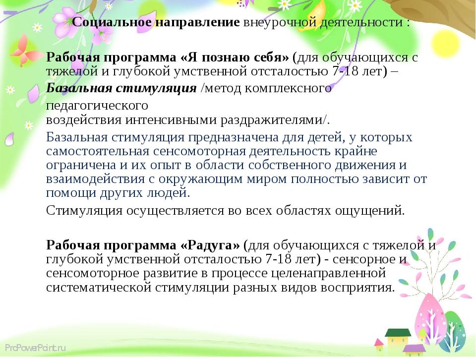 Социальное направление внеурочной деятельности : Рабочая программа «Я познаю...
