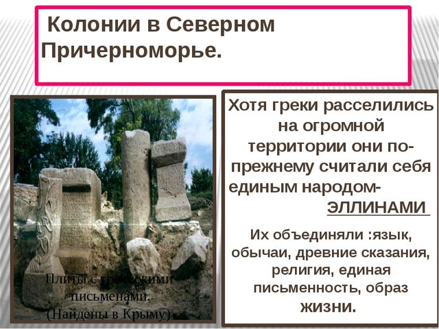 Колонии в Северном Причерноморье. Хотя греки расселились на огромной террито...