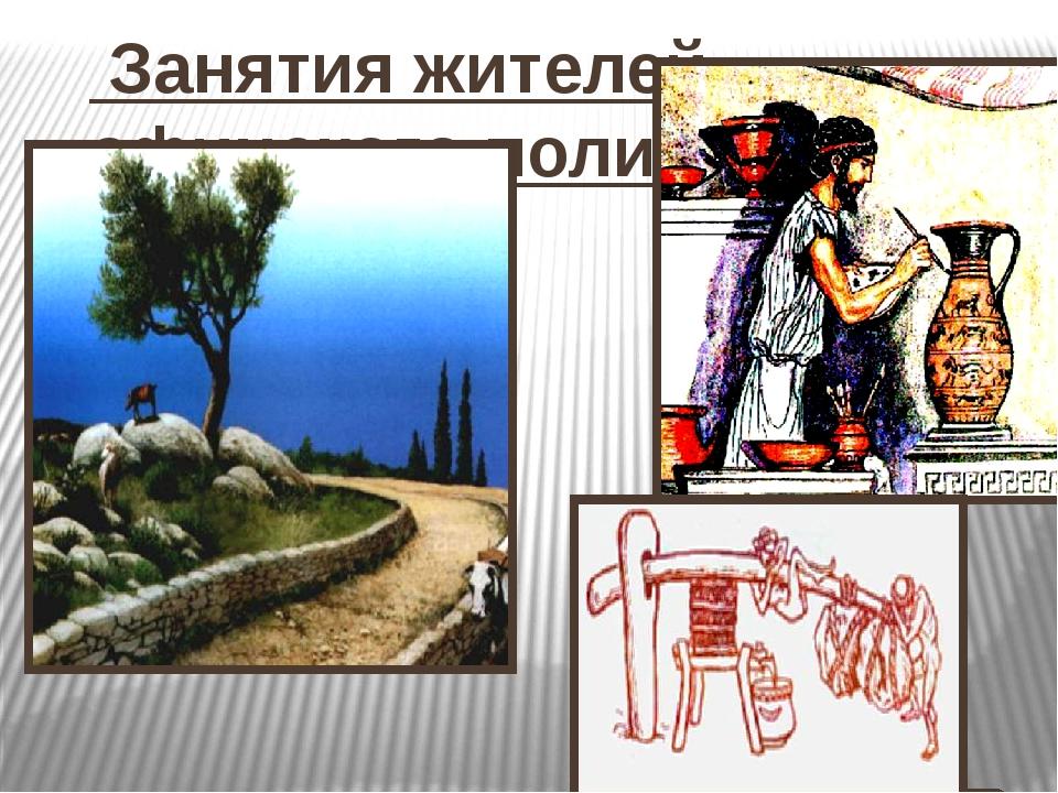 Занятия жителей афинского полиса.