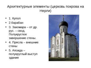 Архитектурные элементы (церковь покрова на Нерли) 1. Купол 2.барабан 3. Заком