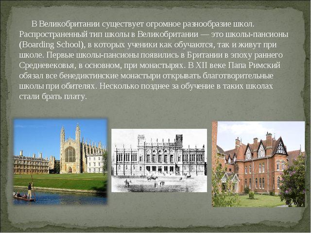 В Великобритании существует огромное разнообразие школ. Распространенный тип...