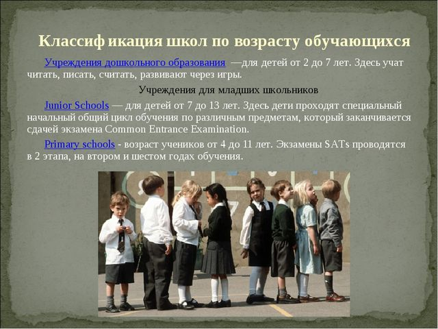 Классификация школ по возрасту обучающихся Учреждения дошкольного образования...