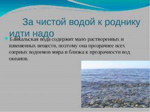 За чистой водой к роднику идти надо Байкальская вода содержит мало растворен