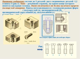 Винтовое соединение состоит из 3 деталей: двух соединяемых деталей -1,2 и вин