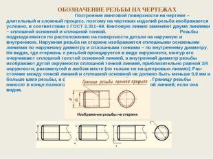 ОБОЗНАЧЕНИЕ РЕЗЬБЫ НА ЧЕРТЕЖАХ Построение винтовой поверхности на чертеже –
