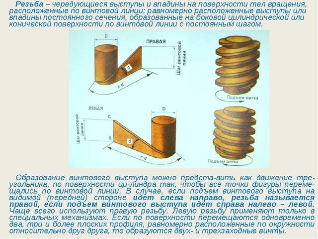 Резьба–чередующиеся выступы и впадины на поверхности тел вращения, располож...