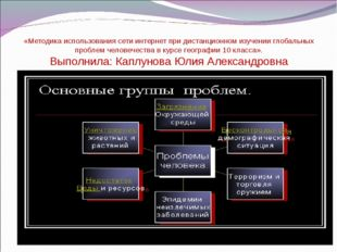 «Методика использования сети интернет при дистанционном изучении глобальных п