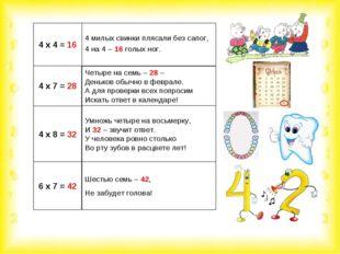 4 х 4 = 16 4 милых свинки плясали без сапог, 4 на 4 – 16 голых ног. 4 х 7 = 2
