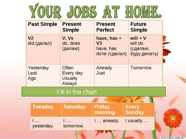 Fill in the chart. 			 			 Past Simple	Present Simple	Present Perfect	Future...