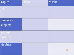 Topics Dima Masha Age    Favourite subjects   School uniform   Hobbies