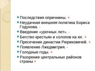 Последствия опричнины. + Неудачная внешняя политика Бориса Годунова. - Введен
