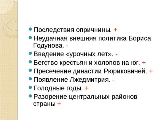Последствия опричнины. + Неудачная внешняя политика Бориса Годунова. - Введен...