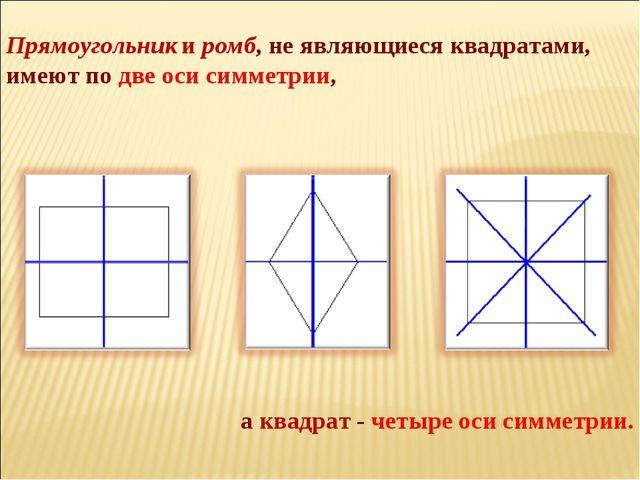 Прямоугольник и ромб, не являющиеся квадратами, имеют по две оси симметрии, а...