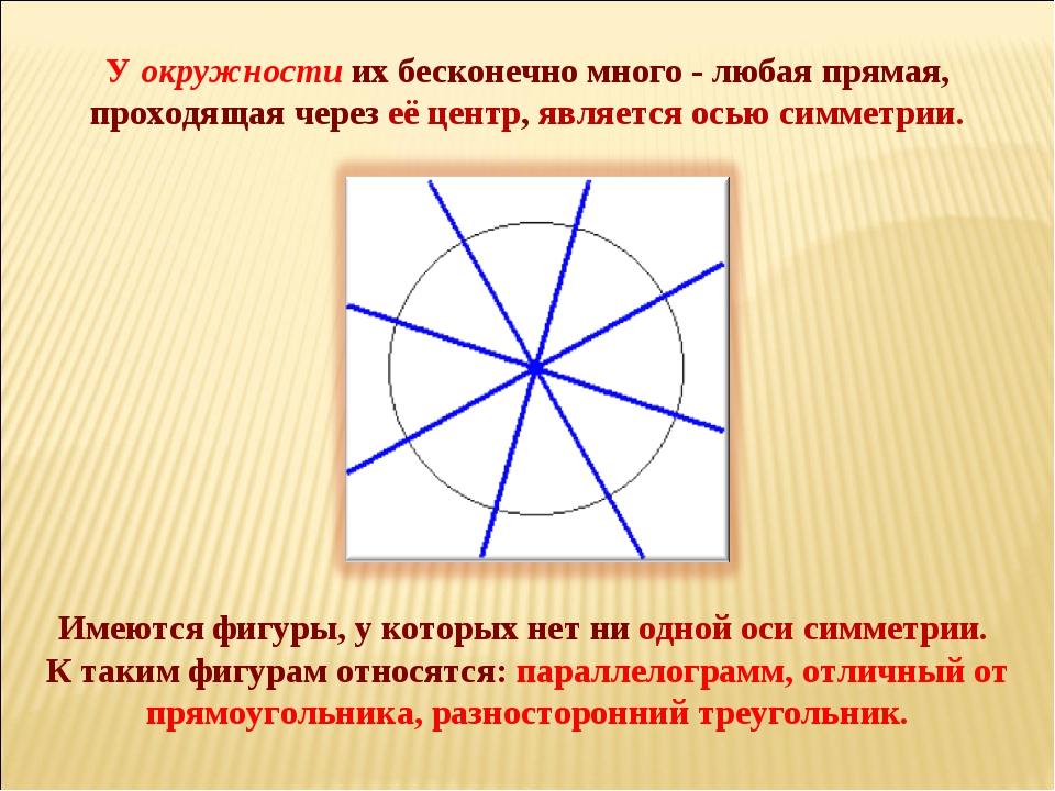 Имеются фигуры, у которых нет ни одной оси симметрии. К таким фигурам относ...